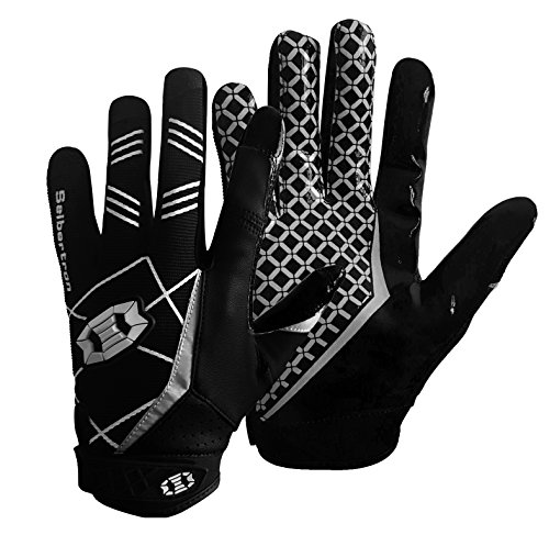 Seibertron Pro 3.0 Elite Ultra-Stick Sports Receiver Glove Football Gloves Youth and Adult (Black, XS)