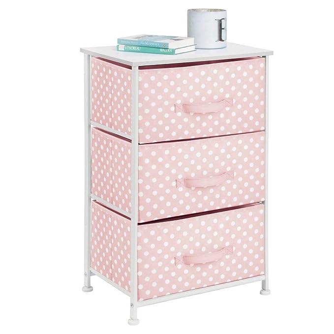 mDesign Cómoda de tela con 3 cajones – Práctico mueble auxiliar de almacenaje para las habitaciones infantiles, los dormitorios, etc. – Preciosa ...