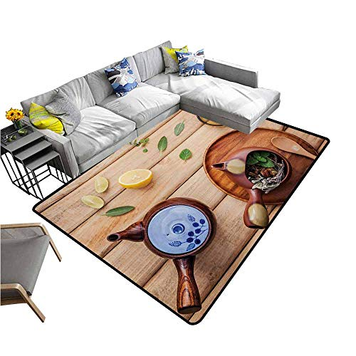 Bathroom Floor mats Tea Party,Herbal Tea Pot with Fresh Herbs Sage Peppermint and Lime on Rustic Wood Planks,Multicolor 80