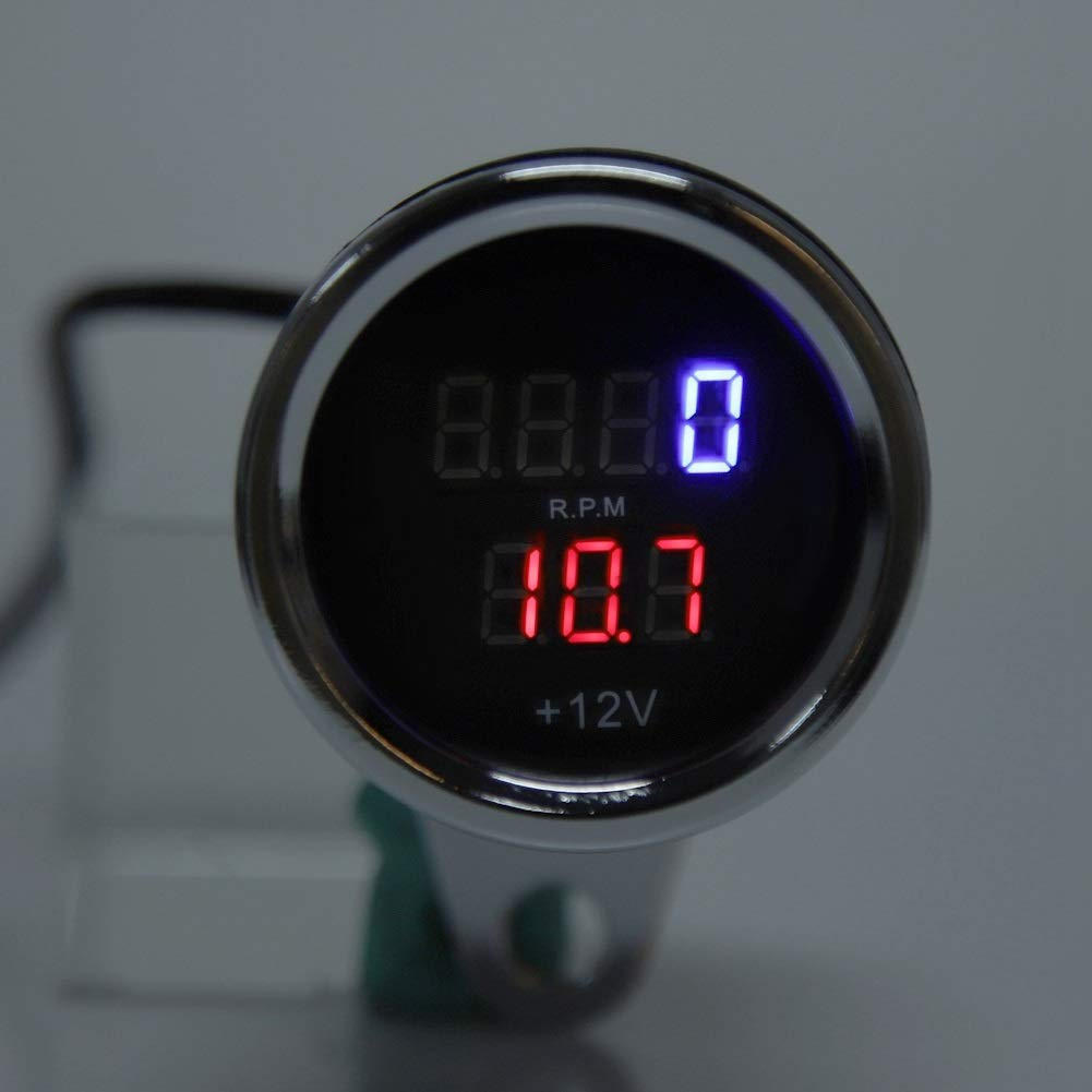 2 en 1 Motocicleta Led Veloc/ímetro Digital Tac/ómetro Medidor Metal Veloc/ímetro