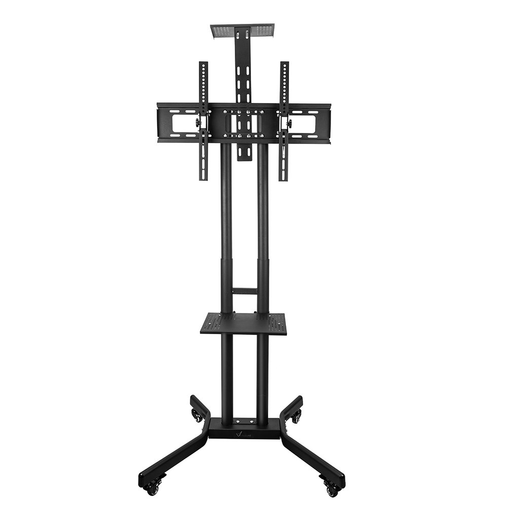Vemount TV Cart Mobile TV Stand Wheeled Height Adjustable Flat Screen Television Stands with Rolling Casters and Shelf, VESA Compatible TV Mount Bracket Fits Displays 37 to 70 Inch, 110 Lbs