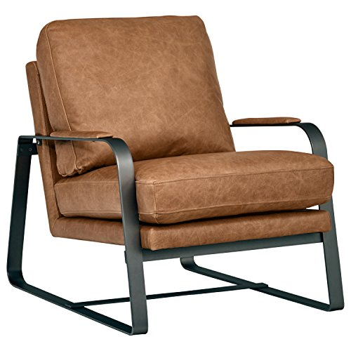 Rivet Summit Mid-Century Modern Top-Grain Leather Steel Armed Accent Chair  27\