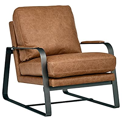 """Rivet Summit Mid-Century Modern Top-Grain Leather Steel Armed Accent Chair 27""""W, Cognac - High design meets amazing comfort in this living room chair. Soft 100% top-grain leather is combined with a brushed steel base and arms for a sturdy, durable piece. Modern, industrial and mid-century influences will blend with most any modern style. 27""""W x 35""""D x 27.6""""H Soft top-grain leather; sturdy brushed steel base and arms. - living-room-furniture, living-room, accent-chairs - 51iEOqeyMcL. SS400  -"""