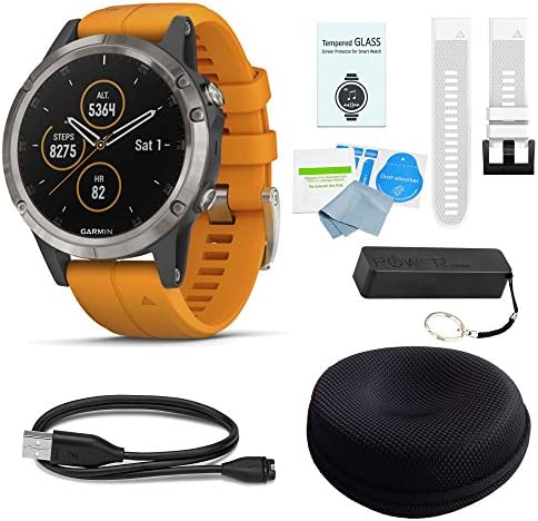 Garmin Fenix 5 Plus Sapphire Titanium w Solar Flare Orange Band White Band Deluxe Bundle