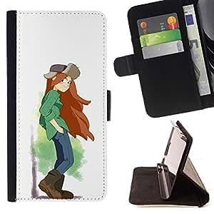BullDog Case - FOR/Apple Iphone 6 PLUS 5.5 / - / TOMBOY GIRL LONG HAIR ART PAINTING BROWN BOOTS /- Monedero de cuero de la PU Llevar cubierta de la caja con el ID Credit Card Slots Flip funda de cuer