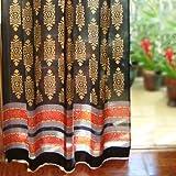 Saffron Marigold – Kilim Noir – Black, Gold, and Red Hand Printed – Elegant Romantic Sheer Cotton Voile Curtain Panel – Tab Top or Rod Pocket – (46 x 84)
