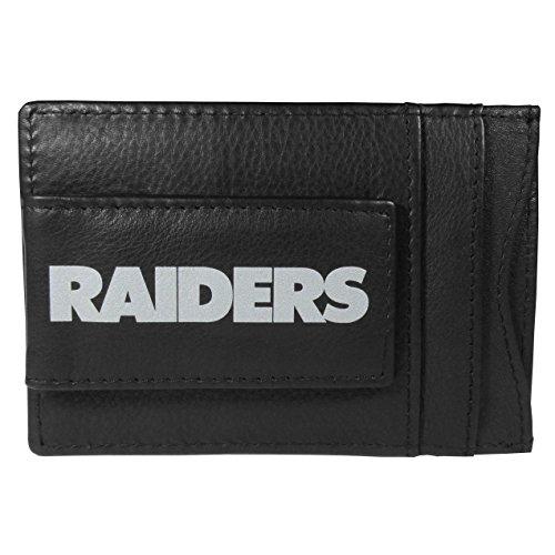(Siskiyou NFL Oakland Raiders Logo Leather Cash and Cardholder, Black)