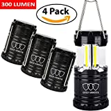 Brightest Camping Lantern – LED Lantern (EMITS 300 LUMENS!) – Camping Equipment Gear Lights for Hiking, Emergencies, Hurricanes, Outages, Storms (Black, 4 Pack)