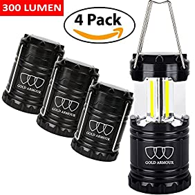 Brightest Camping Lantern - LED Lantern (EMITS 300 LUMENS!) - Camping Equipment Gear Lights for Hiking, Emergencies, Hurricanes, Outages, Storms (Black, 4 Pack)