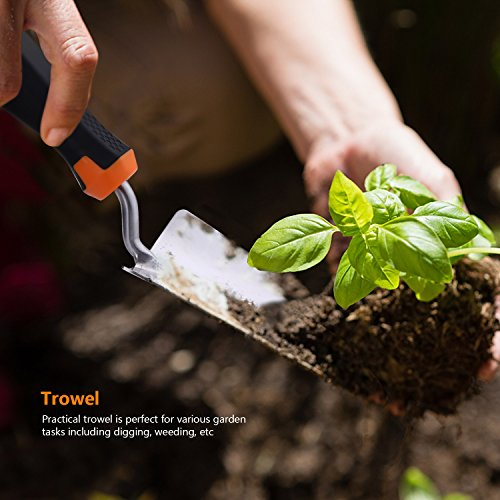 TACKLIFE Garden Tool Set, 3 Piece Stainless Steel Heavy Duty Gardening Kit with Soft Rubberized Non-Slip Handle - Trowel, Transplant Trowel and Cultivator Hand Rake - Garden Gifts for Parents丨GGT1A by TACKLIFE (Image #6)