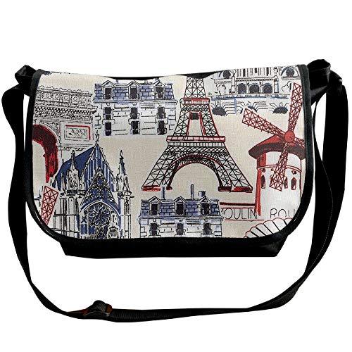 Fashion Womens Casual Black Paris Designer Bag Bag Shoulder Buildings France Messenger Bags xqBWwpnFfw