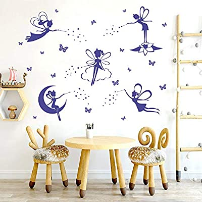 ufengke Purple Fairy Silhouette Wall Stickers Tinkerbell Butterflies Wall Art Decals for Girls Bedroom Nursery: Toys & Games