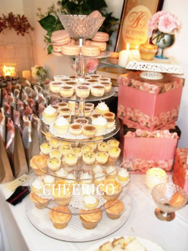 5 Tier Maypole Round Acrylic Cupcake Tower Cup Cake Display