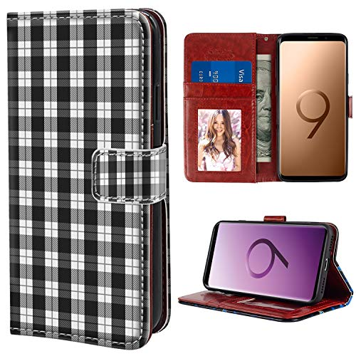 YaoLang Samsung Galaxy S9 Wallet Case, Black White Plaid Pattern PU Leather Standable Wallet Phone Case with Card Holder Magnetic Hold for Samsung Galaxy S9