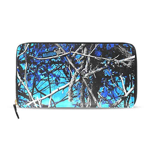 Muddy Girl Camo Blue Wallets Long PU Leather Zipper Clutch Ladies Purse Wallet For Women Girl (Camo Wallet Clutch)