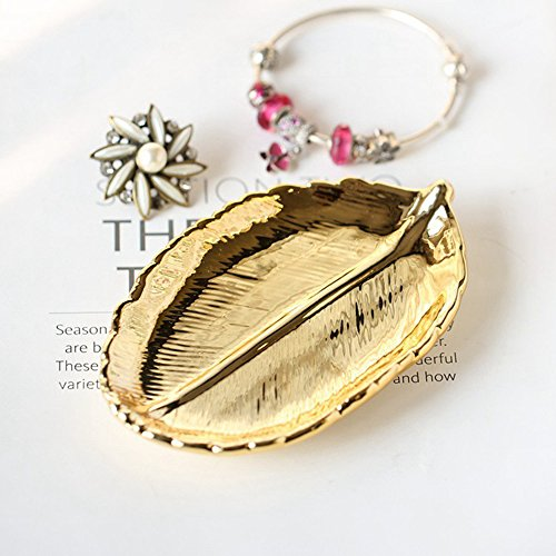 Golden Leaf Shaped Small Ceramic Jewelry Ring Dish Snack Dessert Serving Plates Necklace Bracelet Holder Tray Organizer, Sugar Container Decorative Wedding Party Woman Girl (Gold Leaf)