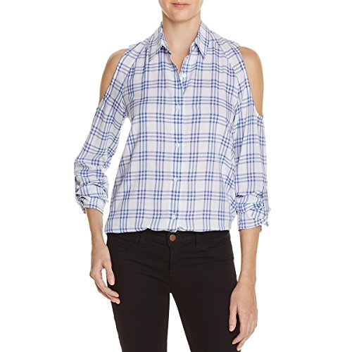 - Generation Love Womens Blair Plaid Tie-Front Button-Down Top Blue S