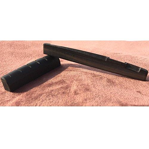 Libretone Real Black Buffalo Horn Acoustic Guitar Nut and Saddle Bridge Saddles Black Nut Gibson Style by Libretone
