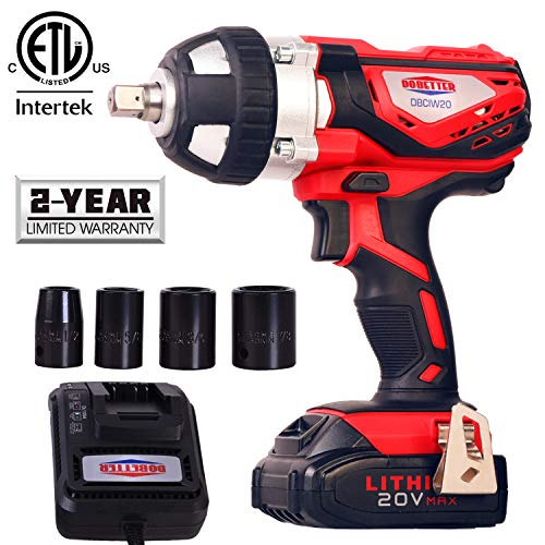 """20V Cordless Impact Wrench 1/2"""" Max Torque 300N.m Compact Battery Impact Wrench with 4Pcs Sockets, 1.5A Li-ion Battery and Fast Charger, Dobetter-DBCIW20"""
