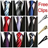 Jeatonge Lot 9 pcs Ties For Men and 3 Free Clips, Men's Classic Tie Necktie Woven Jacquard Neck Ties Gift Box Packing (Style 15)
