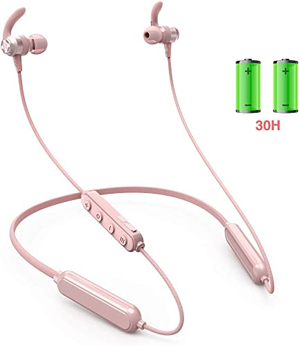 Wireless Earbuds Neckband, 46 Hour Bluetooth 5.0 Headphones with Magnetic, IPX6 Waterproof, EQ Settings Stereo, LIGHTDESIRE Noise Cancellation Sport Earphones for Running, Gym – Pink