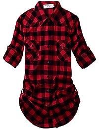 Women's Long Sleeve Flannel Plaid Shirt