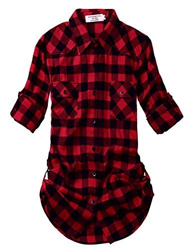 Match Women's Long Sleeve Plaid Flannel Shirt #2021(X-Large, Checks#1)