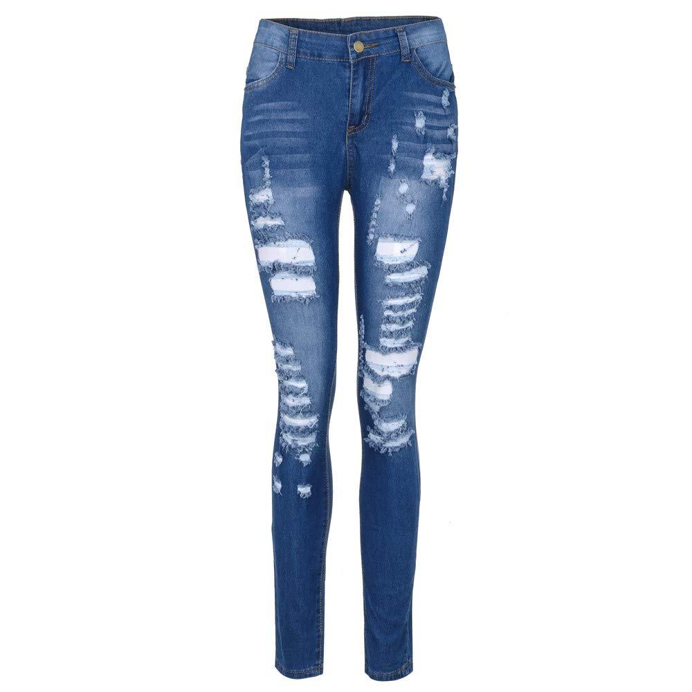 56bb88601c22f DODUMI Jeans Destroy Femme Jeans Grande Taille Femme Jeans pour Femme Jeans  Pas Cher Mode Femmes Stretch Jeans Femme Taille Moyenne Stretch Slim Sexy  Crayon ...