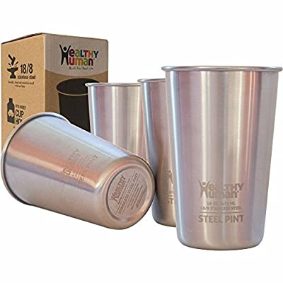 Healthy Human 4 Pack 16oz / 475ml Stainless Steel Cups - Ideal Beer Pints, Iced Tea Tumblers, Wine & Water Mugs, Camping Cup - Bar Set from Healthy Human