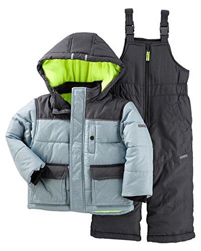 OshKosh B'Gosh Baby Boys Ski Jacket and Snowbib Snowsuit Set, Grey Print, 12M ()