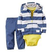 Kidsform Baby Boy Girl 3-Piece Hoodie Jacket Coat Short Sleeve Romper Long Pants Outfits Set Blue 6M
