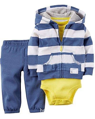 Kidsform Baby Boys Outfit Cotton 3-Piece Hoodie Jacket +Print Bodysuit+Pants Clothes Set Blue 12M