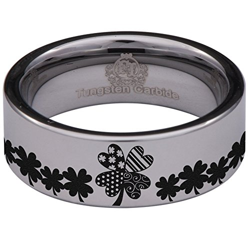 Clover Band Ring - Silver Tungsten Carbide Clover Ring 8mm Wedding Band Anniversary Ring for Men and Women Size 12
