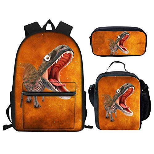 Bookbags Set Of 3 Junior School Student Kid Backpack Children Outdoor Sport Bags Teens with Side Pocket Satchel Dinosaur (Personalized Lego Water Bottle)