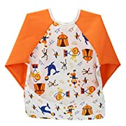 Hi Sprout Unisex Infant Toddler Baby Super Waterproof Sleeved Bib, Reusable Bib with Sleeves& Pocket, Multi Patterns, 6-24 Months,(Happy Circus)