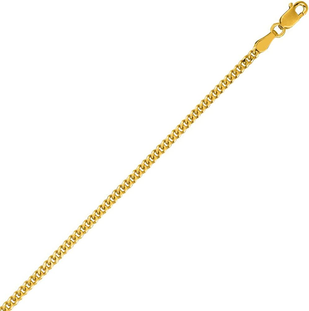 PriceRock 10K Solid Yellow Gold Gourmette Chain Necklace 2mm Thick 20 Inches