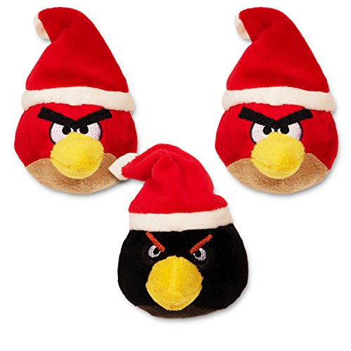 Angry Birds Plush Toys -- Set of 3 Angry Birds Christmas Ornaments (Red Bird, Black Bird) (Bird Toys Plush Set Angry)