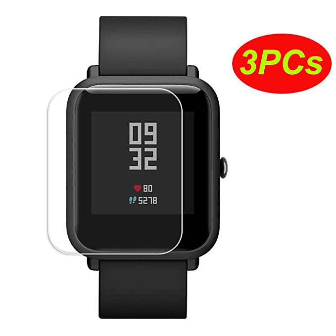 Logobeing 3PCs Pantalla Transparente Protectora Impermeable para Xiaomi Huami Protector Amazfit Bip Youth Watch (Clear): Amazon.es: Deportes y aire libre