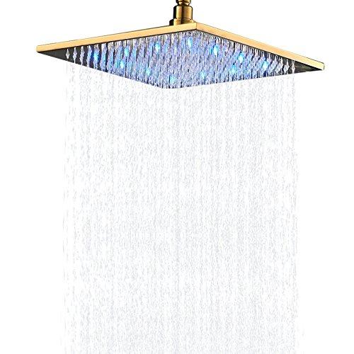 Senlesen LED Color 12-inch Bathroom Top Spray Square Shower Head Gold - Gold Heads Shower