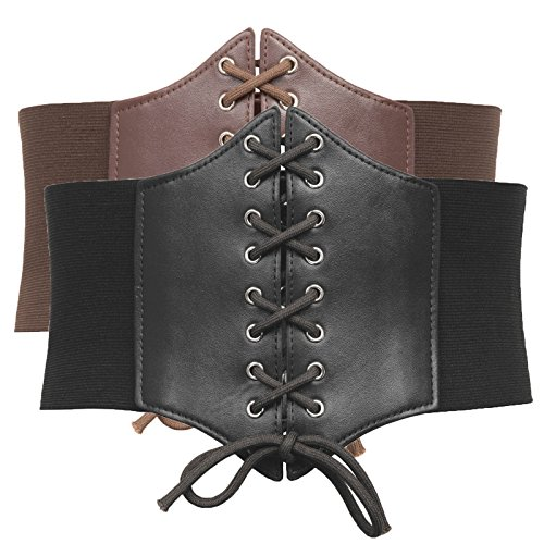 Steampunk Costume Underbust Corset Belt (XL,Black+Coffee)]()