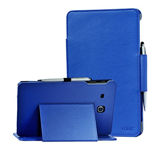 TAB E 8.0 case, Samsung Galaxy TAB E 8.0 inch SM-T377A/P/R/T/V Verizon/Sprint/US Cellular/AT&T/T-Mobile case by i-UniK Slim Folio Case [Bonus Stylus] (Blue) 0 Folio Case