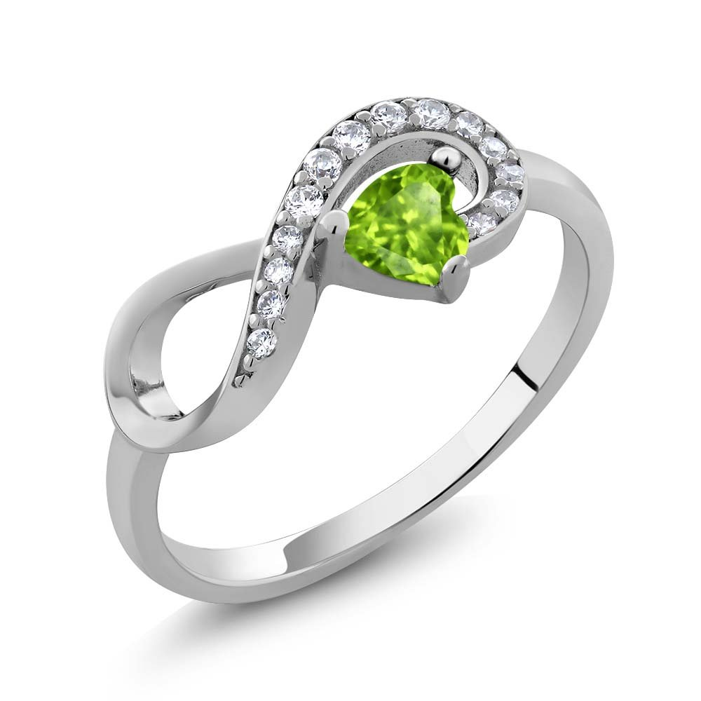 925 Sterling Silver Heart Shape Green Peridot Women's Infinity Ring 0.39 cttw (Size 9)