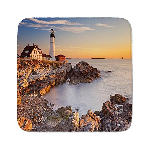 Cozy Seat Protector Pads Cushion Area Rug,United States,Cape Elizabeth Maine River Portland Lighthouse Sunrise USA Coast Scenery,Light Blue Tan,Easy to Use on Any Surface