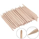 KINGMAS 100 Pcs Nail Art Orange Wood Stick, Double