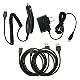 4 pc Fenzer Black Bundle Kit for Garmin Nuvi 755T 760 765T 775T 780 785T 850 855 Home Wall Travel Car Charger Data Sync USB Cable