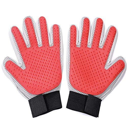 Garrein Pet [Upgrade 259 Tips Version] Grooming Glove-Gentle Massage Tool with Enhanced Five Finger Design -Deshedding Brush-Efficient Pet Hair Remover Mitt for Dogs,Cats,Horses (Red-259 Tips)
