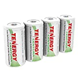 Tenergy Centura NiMH Rechargeable C Batteries, 4000mAh C Battery, Low Self Discharge C Cell Battery, Pre-charged C Size Battery, 4 Pack