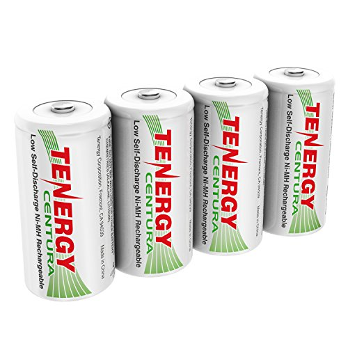 Tenergy Centura NiMH Rechargeable C Batteries, 4000mAh C Battery, Low Self Discharge C Cell Battery, Pre-charged C Size Battery, 4 Pcs -