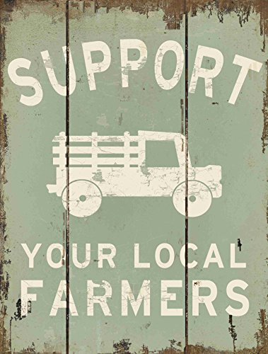 Barnyard Designs Support Your Local Farmers Retro Vintage Wooden Plaque Bar Sign Country Home Decor 15.75