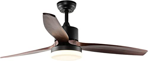 RainierLight Modern Ceiling Fan Led 3 Color Light Warm,Yellow,Netural 3 Wood Blades 1 Light Kit Remote Control /3 Speed Low,Medium,High /48Inch/for Indoor